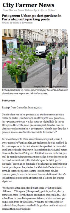 """Article City-farmer - """"Potogreen : Jardins urbains de poche à Paris en haut des poteaux anti-stationnement"""" - Création Paule Kingleur / Paris Label"""