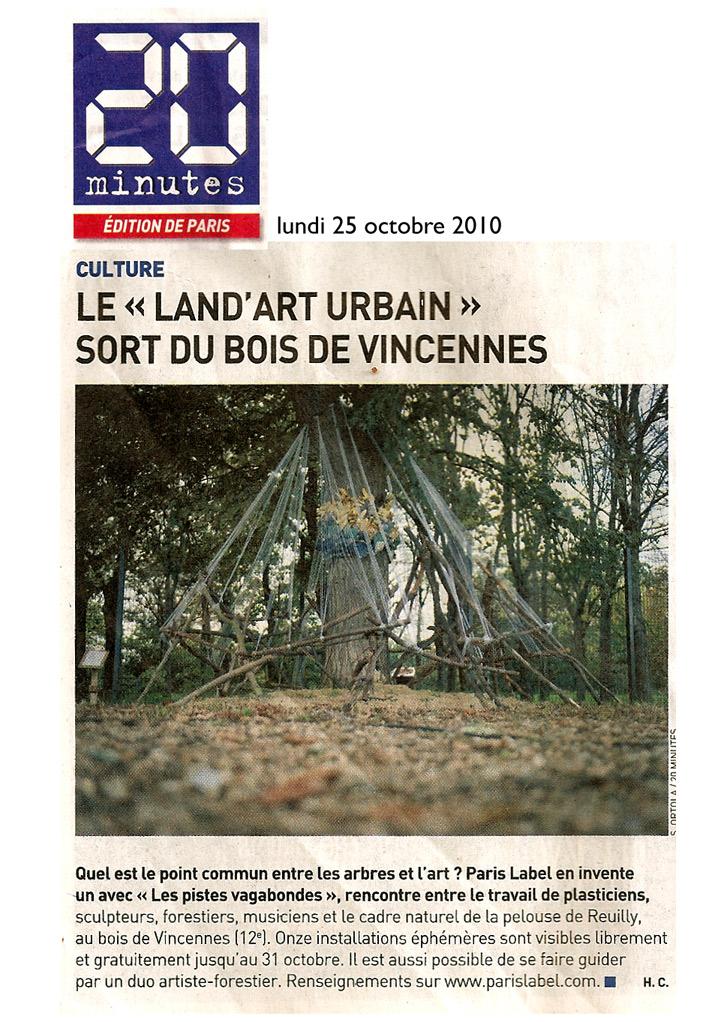 article 20 minutes pour le land art urbain initié par Paris Label / Paule Kingleur autour du village de cirque avec la grande complicité de la coop 2r2c / Rémy Bovis