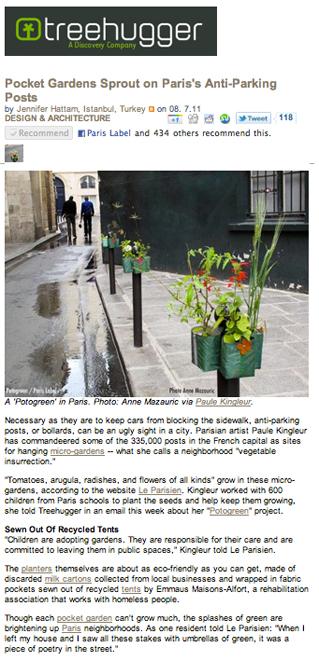 """Article Potogreen sur site américain Treehugger - """"Des jardins de poche poussent sur les bittes anti-stationnement de Paris"""" - Potogreen ® Paule Kingleur"""