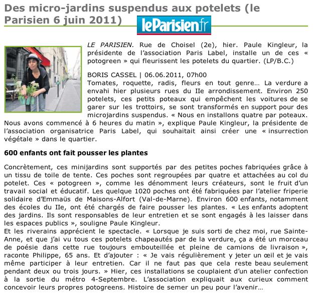 Article le Parisien : Potogreen mini-jardins suspendus de Paris Label - création Paule Kingleur