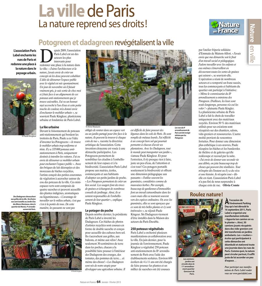 Paris Label enchante les rues de Paris et redonne une place à la nature dans le paysage urbain - article 2013 sur Potogreen et Ddagreen de Paule Kingleur