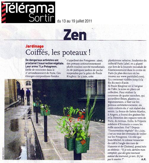 article Télérama Sortir pour Potogreen à Paris - article d'Anne Raux - Insurrection végétale menée dans le 2e à l'initiative de Paris Label et Paule Kingleur