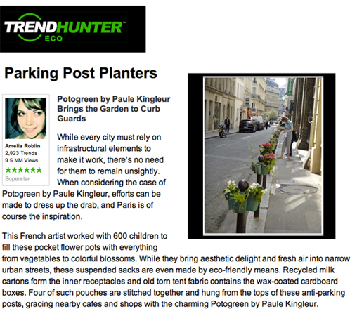 article  Potogreen sur le site Trend hunter (chasseur de tendances !) Photo de Potogreens dans la rue de Hanovre Paris 2e © Paule Kingleur / Paris Label
