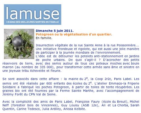 article du magazine La Muse pour Potogreen de Paris Label - utopie végétale urbaine imaginée par Paule Kingleur