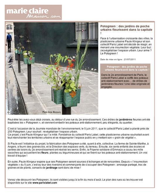 article marie-claire maison Potogreen - Insurrection végétale du 5 juin 2011 dans les rue de paris 2e, initiée par Paule Kingleur plasticienne et son collectif Paris Label
