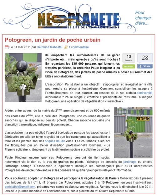 presse néoplanète pour Potogreen - végétalisation urbaine par Paris Label / création Paule Kingleur