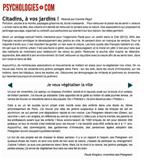 article psychologies de Camille Pégol sur la végétalisation urbaine et citoyenne dont les Potogreen de Paris Label / Paule Kingleur
