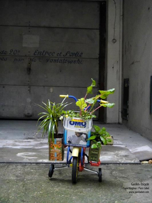 african garden-tricycle, potager ambulant imaginé par Paule Kingleur, plasticienne urbaine