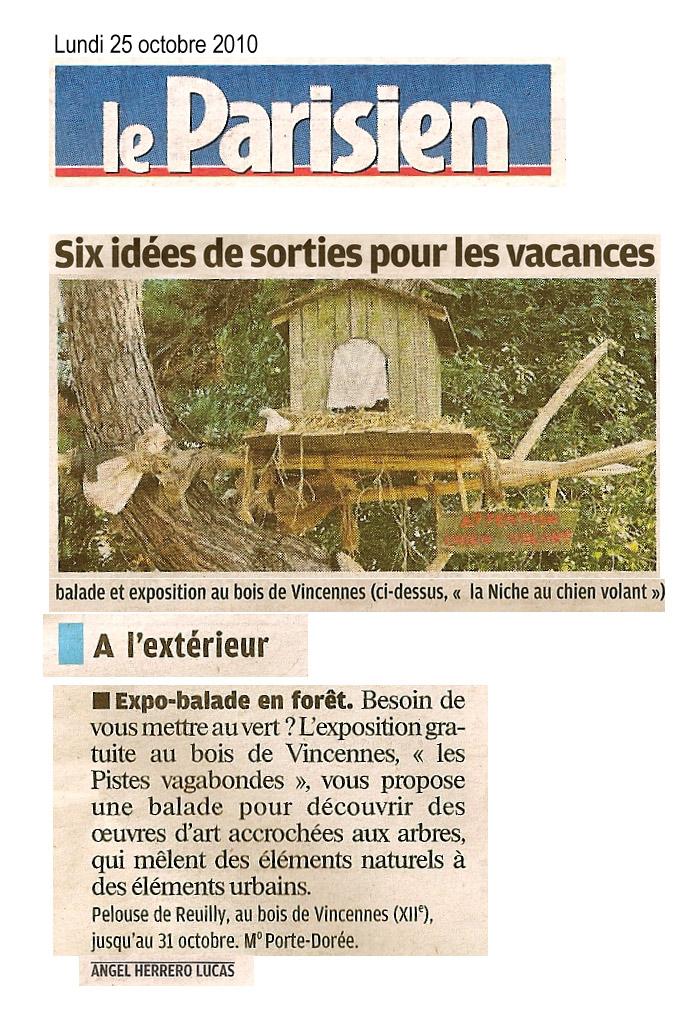 paris label et le land art urbain dans la presse : article Le Parisien pour sorties vacances de toussaint -