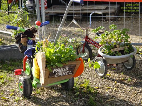 Garden'Tricycle, jardin ambulant pour les enfants, imaginé et réalisé par Paule Kingleur pour Paris Label