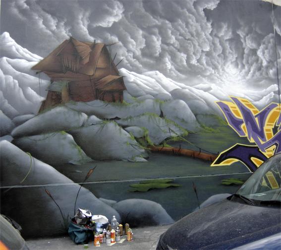 graffiti petite cabane mouvementée seyb, photo paule kingleur, paris label