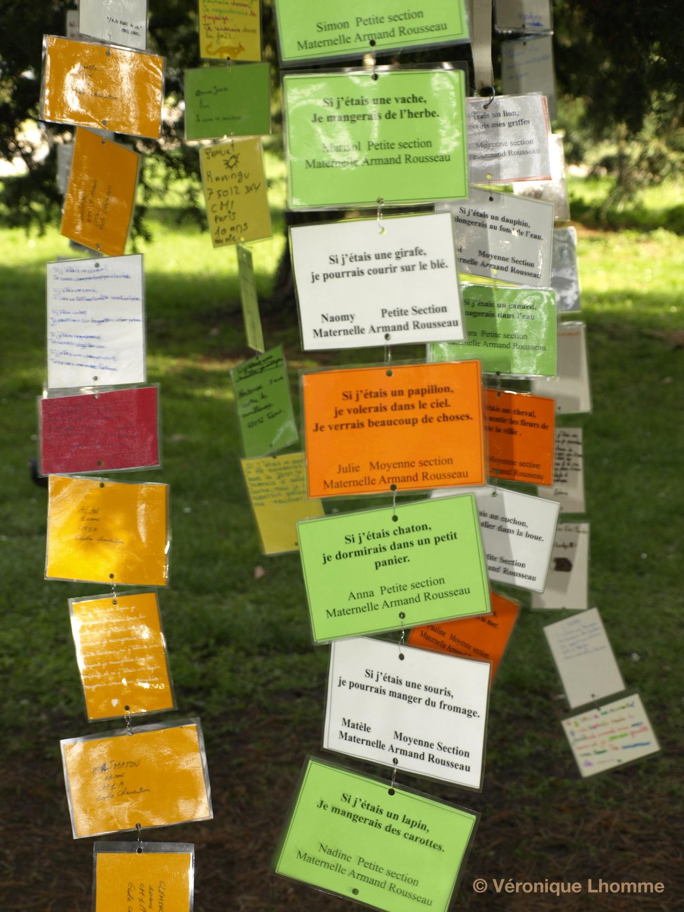 si j'étais chaton : poèmes animaliers pour la biodiversité 2010 à paris, arbre à palabres proposé par paris label au bois de vincennes