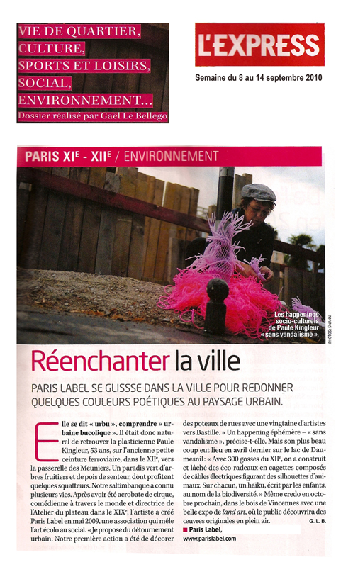 Article de Paris Label dans L'Express - interview Paule Kingleur par Gael Le Bellego / photo frederic Dufour
