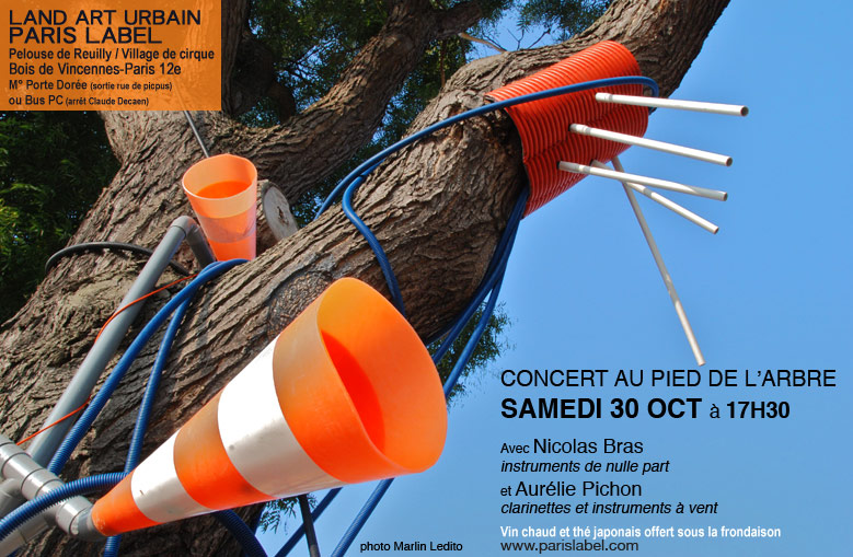 Land art urbain : concert dans arbre musical de nicolas bras - paris label - photo marlin ledito