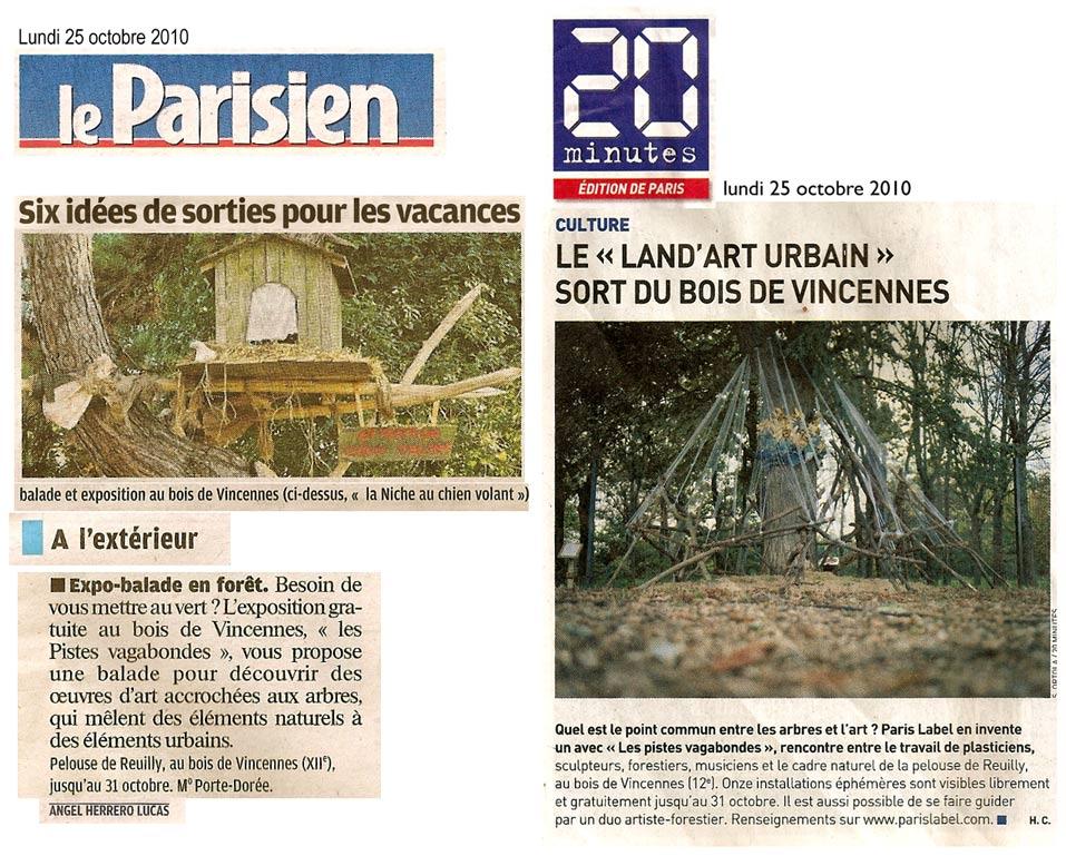 articles presse pour land art urbain de paris label dans le Parisien et le journal 20 minutes