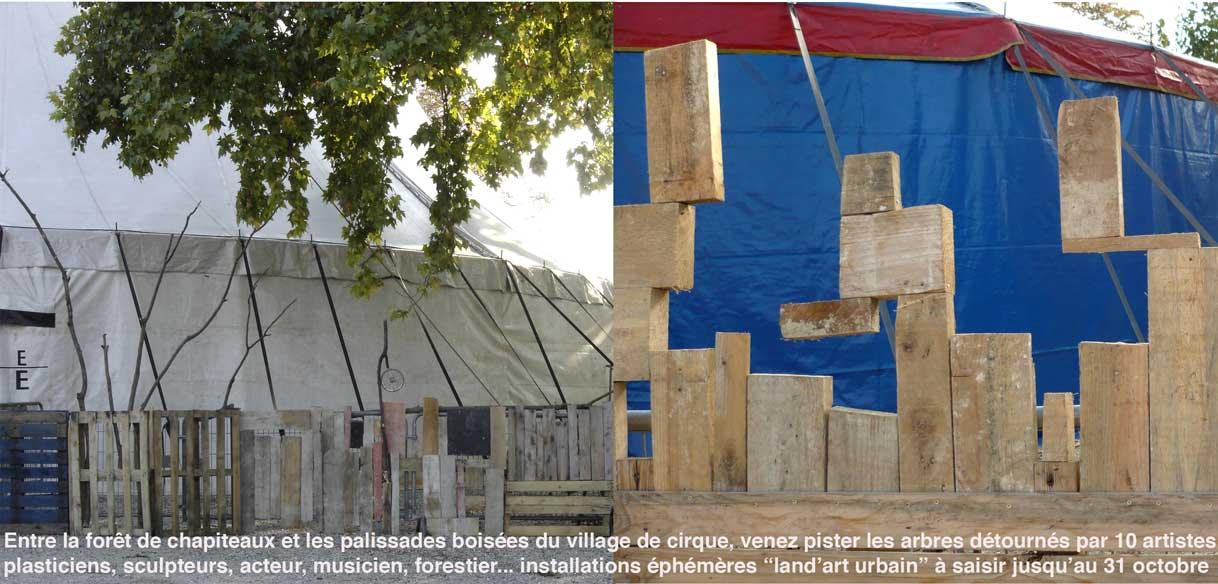 palissades décor land art urbain du village de cirque réalisé par Paule Kingleur / Paris Label