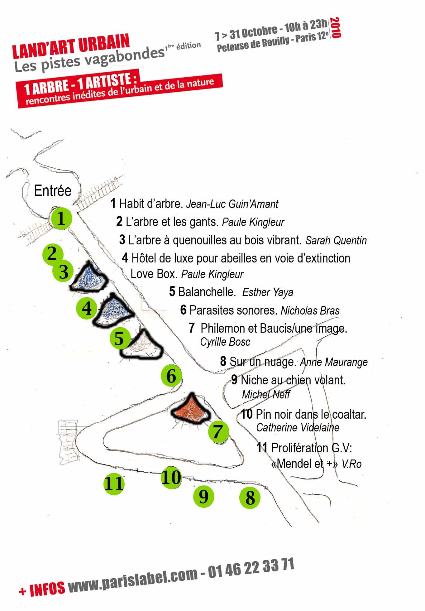 plan pour parcoursland art urbain au bois de vincennes pelouse de reuilly autour du village de cirque / Paris Label et Coop 2r2c
