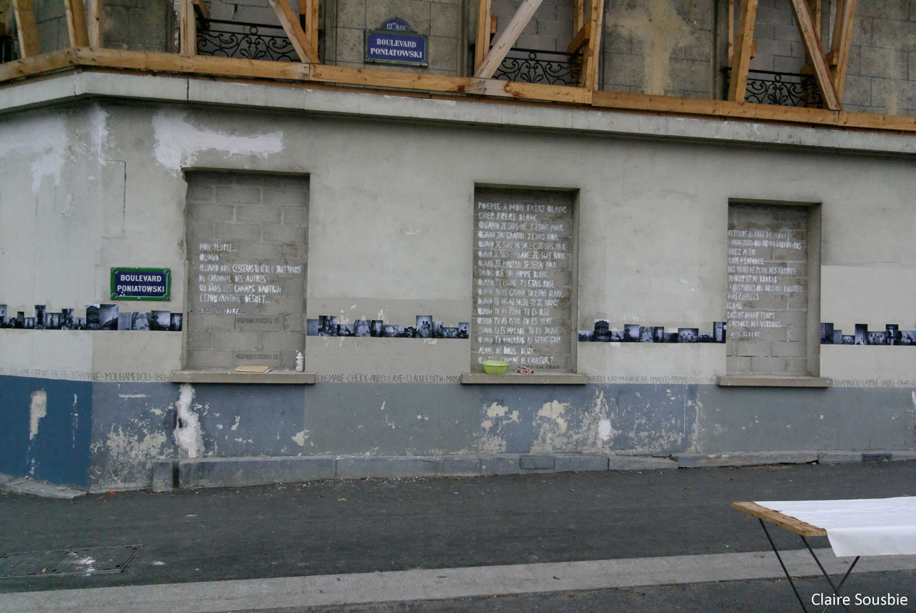 vue d'ensemble de la meeao murée avec l'écriture des poèmes - bd poniatowski - photo claire sousbie