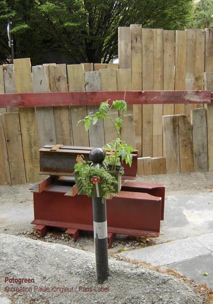 Potogreen sur chantier : végétalisation urbaine / création Paris Label et Paule Kingleur
