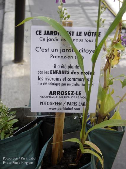 mini-jardin potogreen dans les rues du 2e - création Paule Kingleur / Paris Label