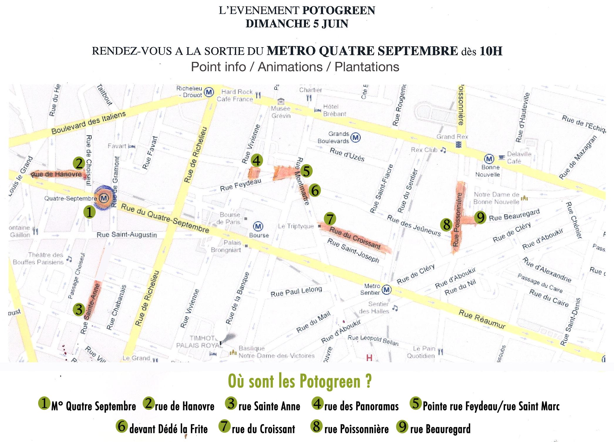 Plan des rues Potogreen dans le 2e arrdt à Paris