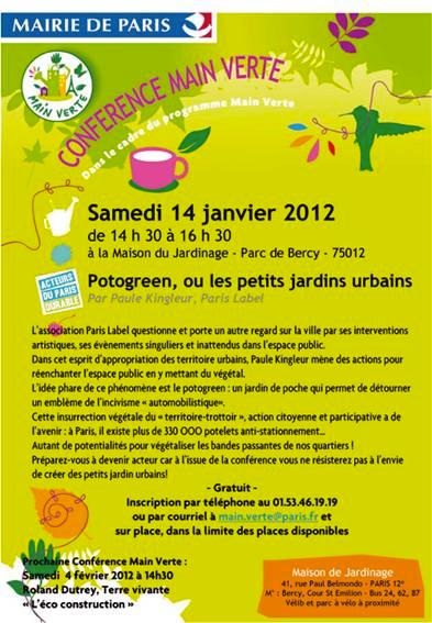 Conférence Potogreen par Paule Kingleur à la Maison du Jardinage du parc de bercy  / Main Verte / Mairie de Paris