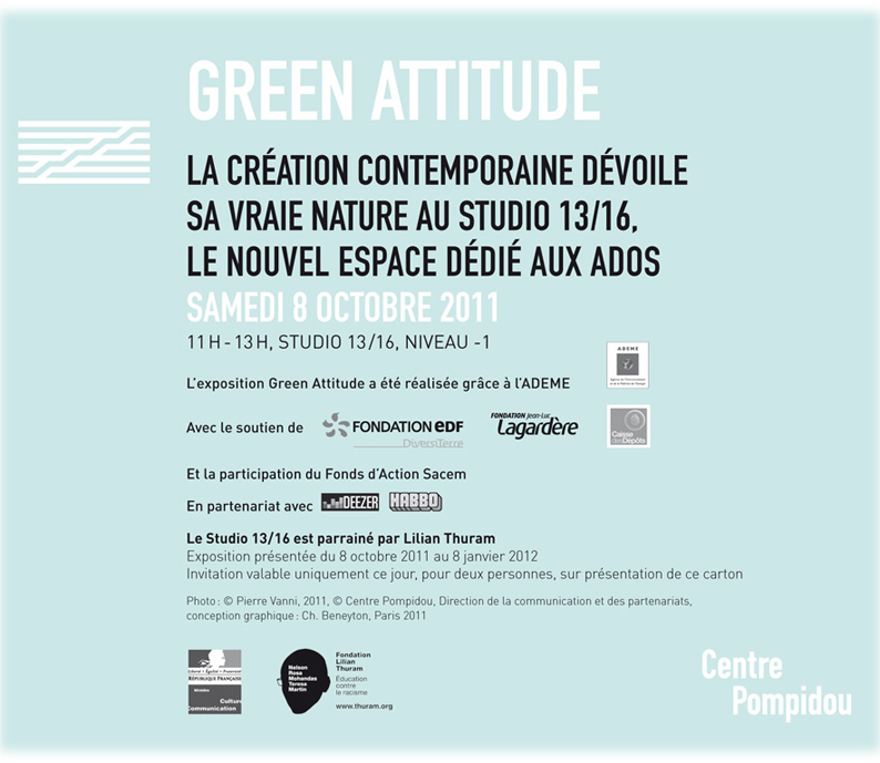 Expo Green Attitude au Centre Pompidou - Studio 13/16 avec ateliers Potobo/Potogreen conduits par Paule Kingleur / Paris Label