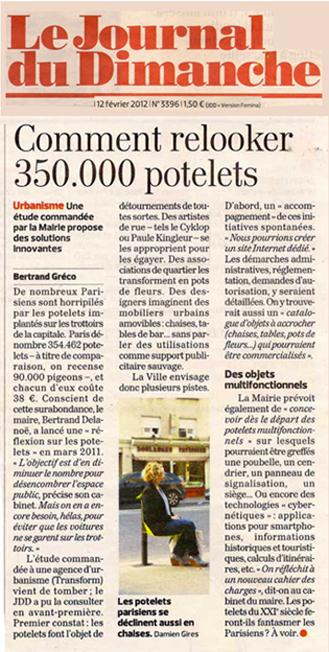 Journal du dimanche - etude sur le détournement des potelets - Potogreen création de Paule Kingleur