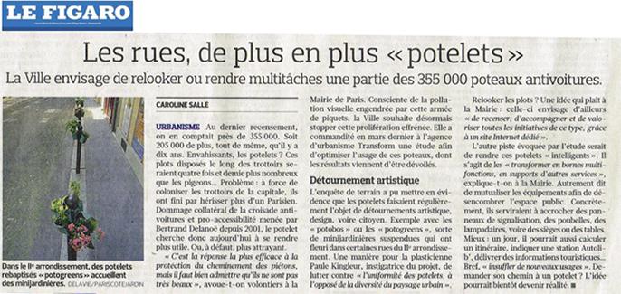 article du Figaro suite à l'étude menée par Transform à la demande de la ville de Paris, sur les détournements et innovations de l'usage des potelets comme Potobos, Potogreen et bien d'autres imaginaires... Paule Kingleur