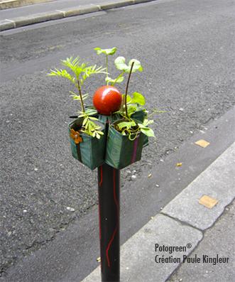 Détournement de potelet en Potogreen dans le 2e à Paris - création Paule Kingleur