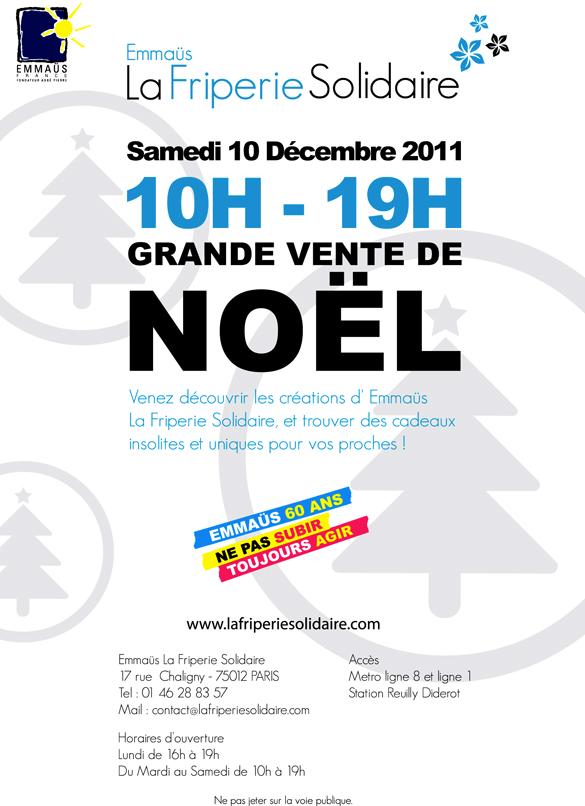 Affiche vente de Noël La friperie Solidaire - Emmaüs / Potogreen