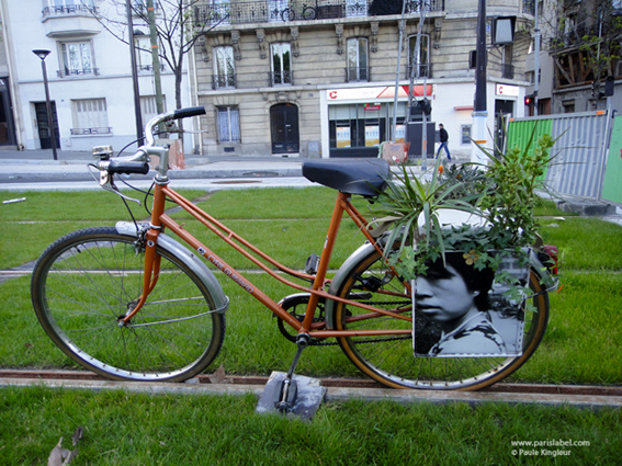 Dadagreen à vélo sur rail du tramway parisien !