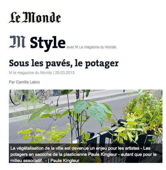 Article dans le Magazine M Le Monde avec notamment les Dadagreen de Paule Kingleur, Paris Label - Mars 2013