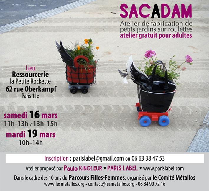 Atelier Sacadam à Paris 11e à la Ressourcerie de la Petite Rockette, animé par Paule Kingleur de Paris Label, pour le Parcours Filles-Femmes organisé par le Comité Métallos.