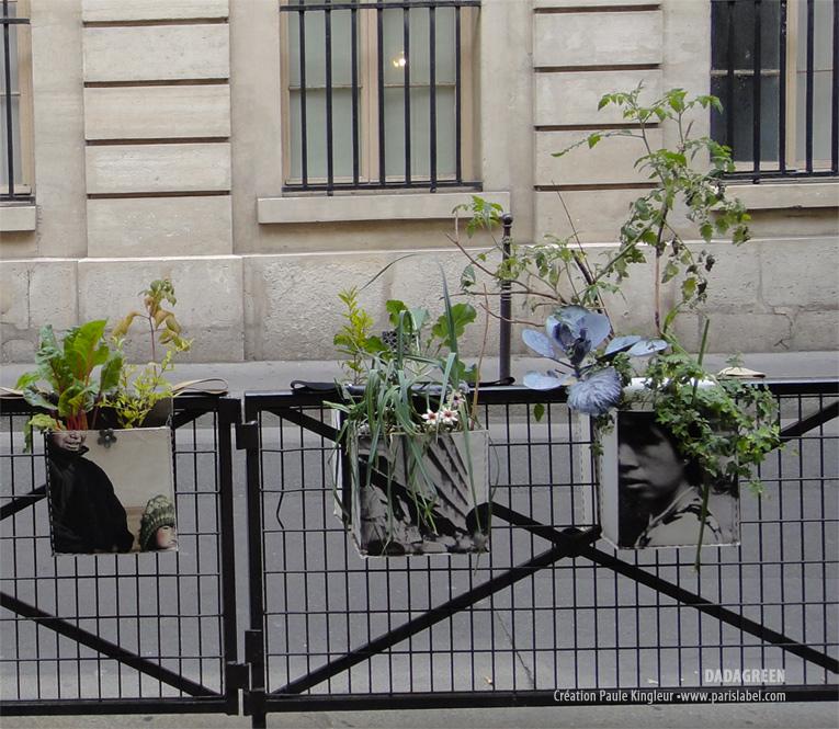 Dadagreen - potager de la ville à cheval sur les grilles de l'espace public - Création Paule Kingleur / Paris Label