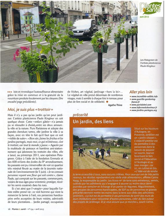 Magazine Plantes et Santé - article de Agathe Thine sur la végétalisation urbaine - extrait concernant Paule Kingleur et Paris Label