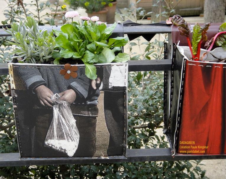 Les Dadagreen de la Maison des Acteurs du Paris Durable au Jardin Clos des Blancs Manteaux. Création Paule Kingleur / Paris Label