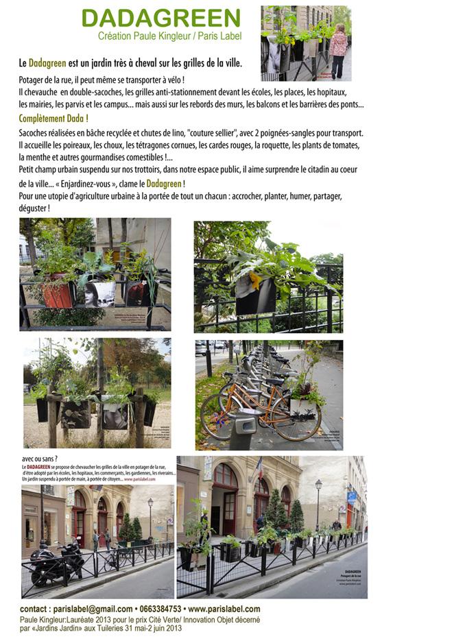 Dadagreen est un potager urbain qui chevauche le mobilier urbain, création Paule Kingleur pour Paris Label
