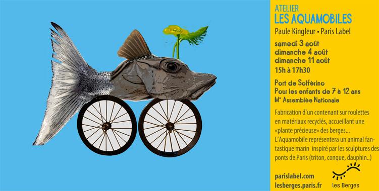 """Atelier Aquamobile sur une idée de Paule Kingleur : création de véhicules en forme de tritons, coquillages, marsoin (inspiration sculptures des ponts) pour accueillir une plante semi-aquatique """"précieuse"""" des Berges de la Seine Juillet-Août2013"""