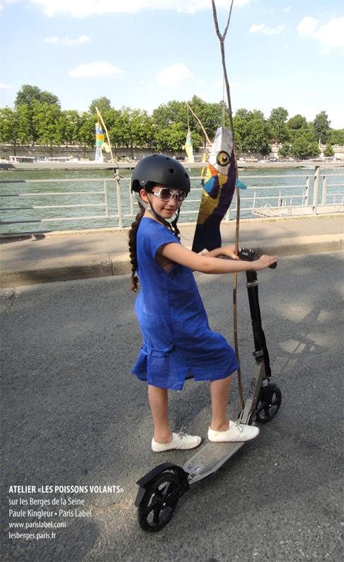 Poisson Volant réalisé par Eugénie lors d'un atelier sur les Berges de la Seine, proposé par Paris Label et Paule Kingleur en juillet et août 2013