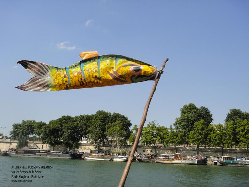Atelier Paule Kingleur • Paris Label pour les Poissons volants sur les Berges de la Seine - Été 2013