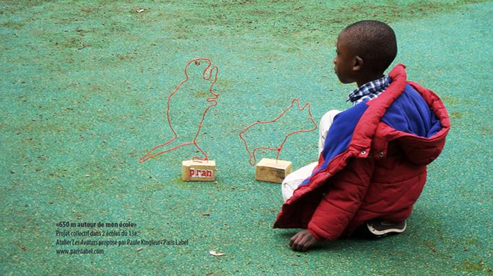 avatar dinosaure ateliers scolaires ARE menés par Paule Kingleur pour Paris Label