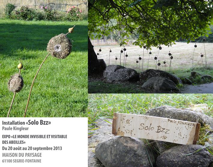 Installation land art de Paule Kingleur à la Maison du Paysage à Segrie Fontaine dans l'Orne, du 20 aout au 20 septembre 2013