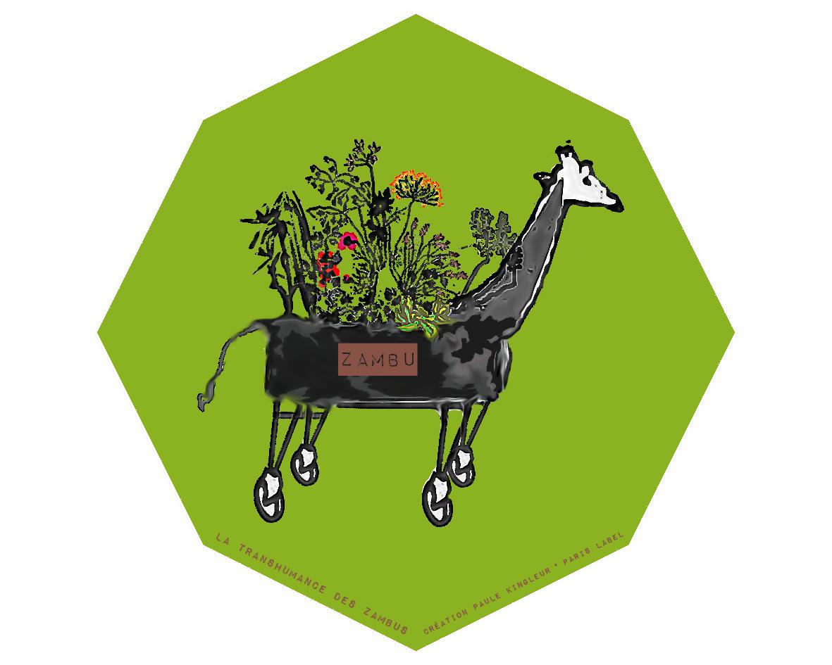 Le Zambu est un jardin ambulant urbain sur roues, en forme d'animal, il a été imaginé et créé par Paule Kingleur pour Paris Label