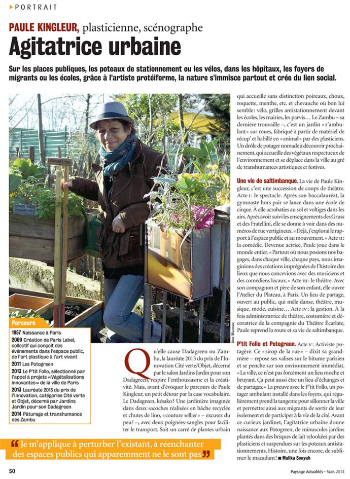 Portrait de Paule Kingleur par Malika Souyah dans Paysage actualités de mars 2014