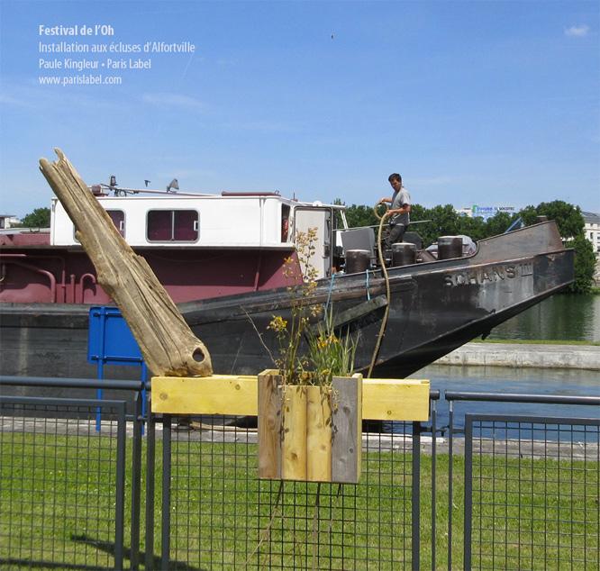 Paule-Kingleur Festival de l'Oh 2014 - Installation bois flottés, plantes des berges et photographies de la Seine