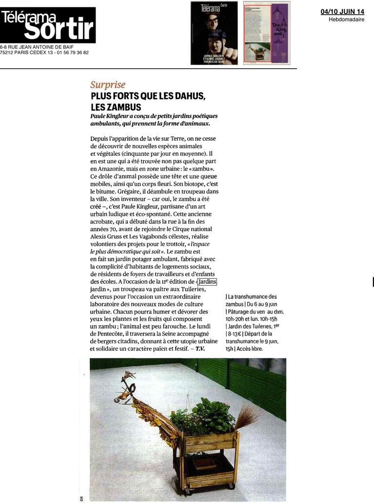 Article de TELERAMA SORTIR pour la transhumance des ZAMBUS le lundi 9 juin 2014 - Jardins, Jardin / Paris Label / Paule Kingleur