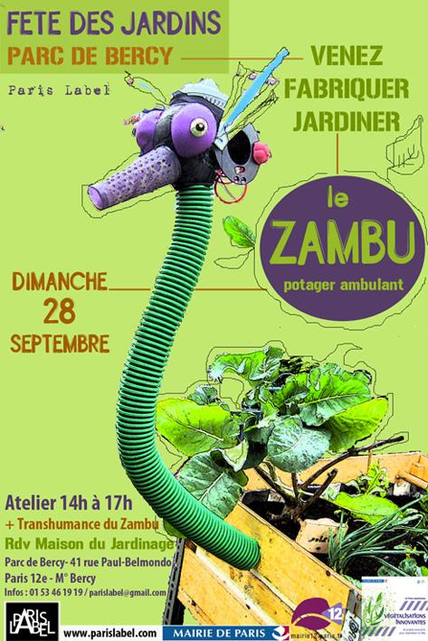 affiche Zambu Parc de Bercy - Fete des Jardins 2014