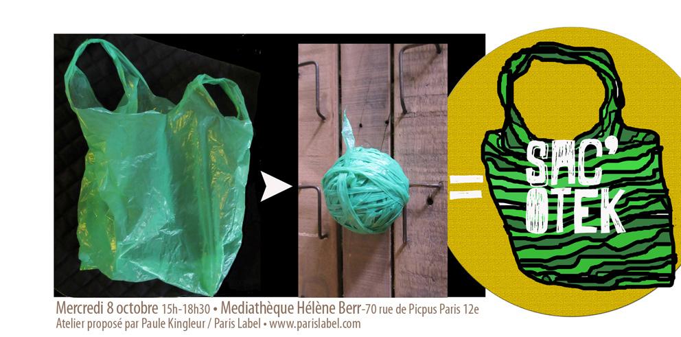 Atelier Sac'Otek par Paule Kingleur et Paris Label à la Médiathèque Hélène Berr à paris 12e