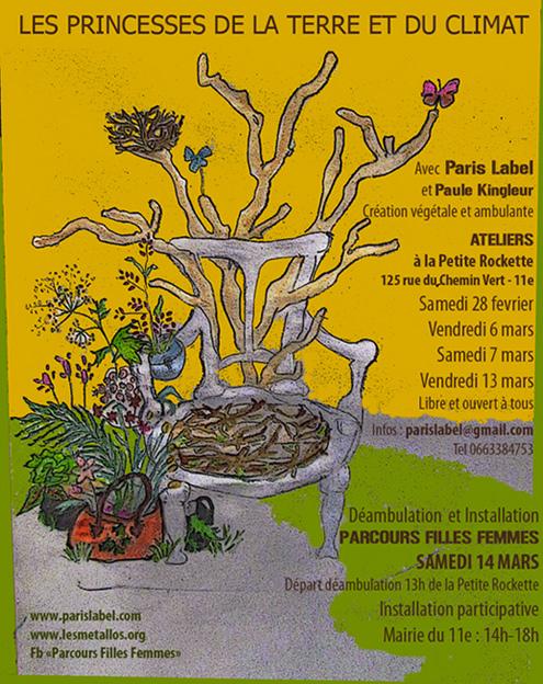 """Végétalisation """"Les Princesses de la Terre et du Climat"""" de Paule Kingleur / Paris label 2015"""